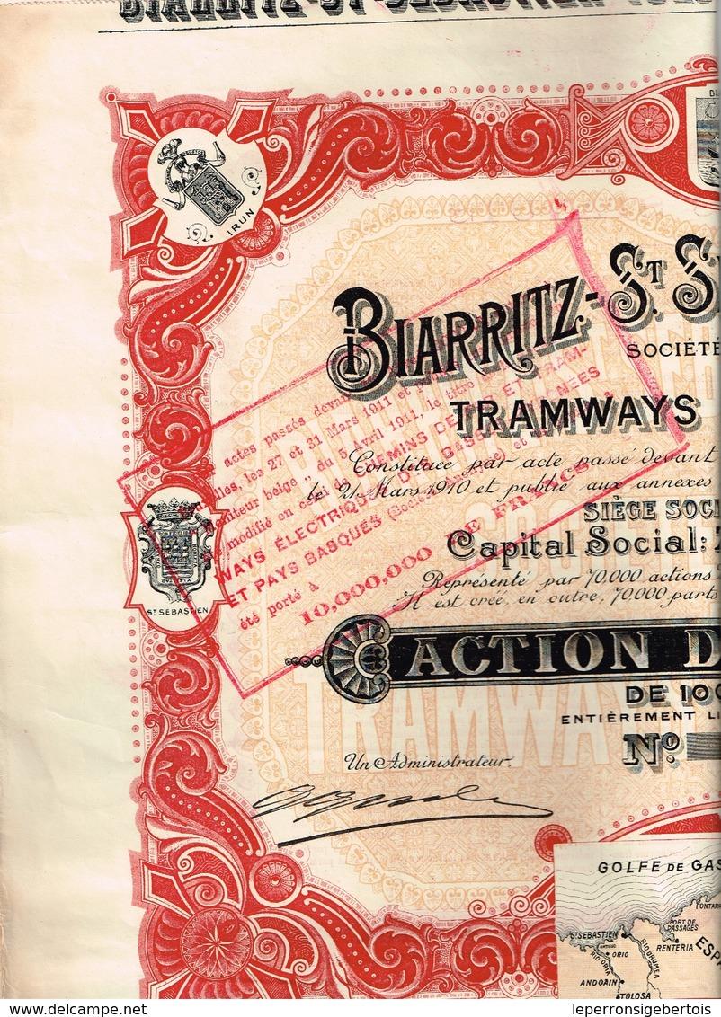 Ancien Titre - Sté Anonyme De Tramways Electriques Biarritz-St-Sébastien-Tolosa - Titre De 1910 N°01204 - VF - Déco - Chemin De Fer & Tramway
