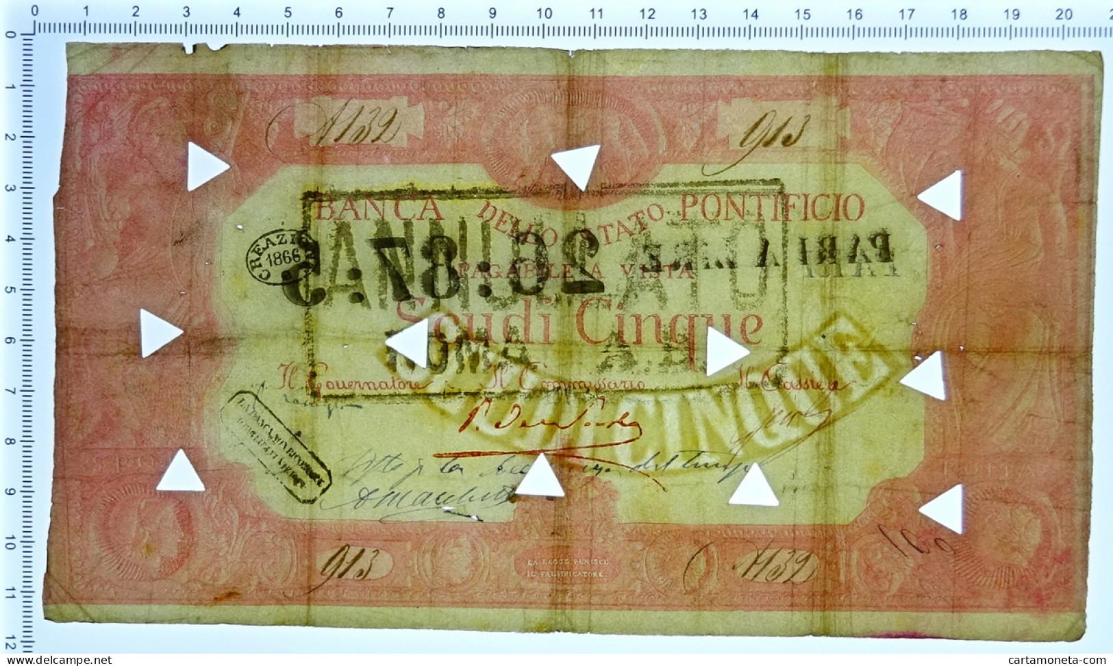 5 SCUDI BANCA DELLO STATO PONTIFICIO UNICO 1866 MB - Altri