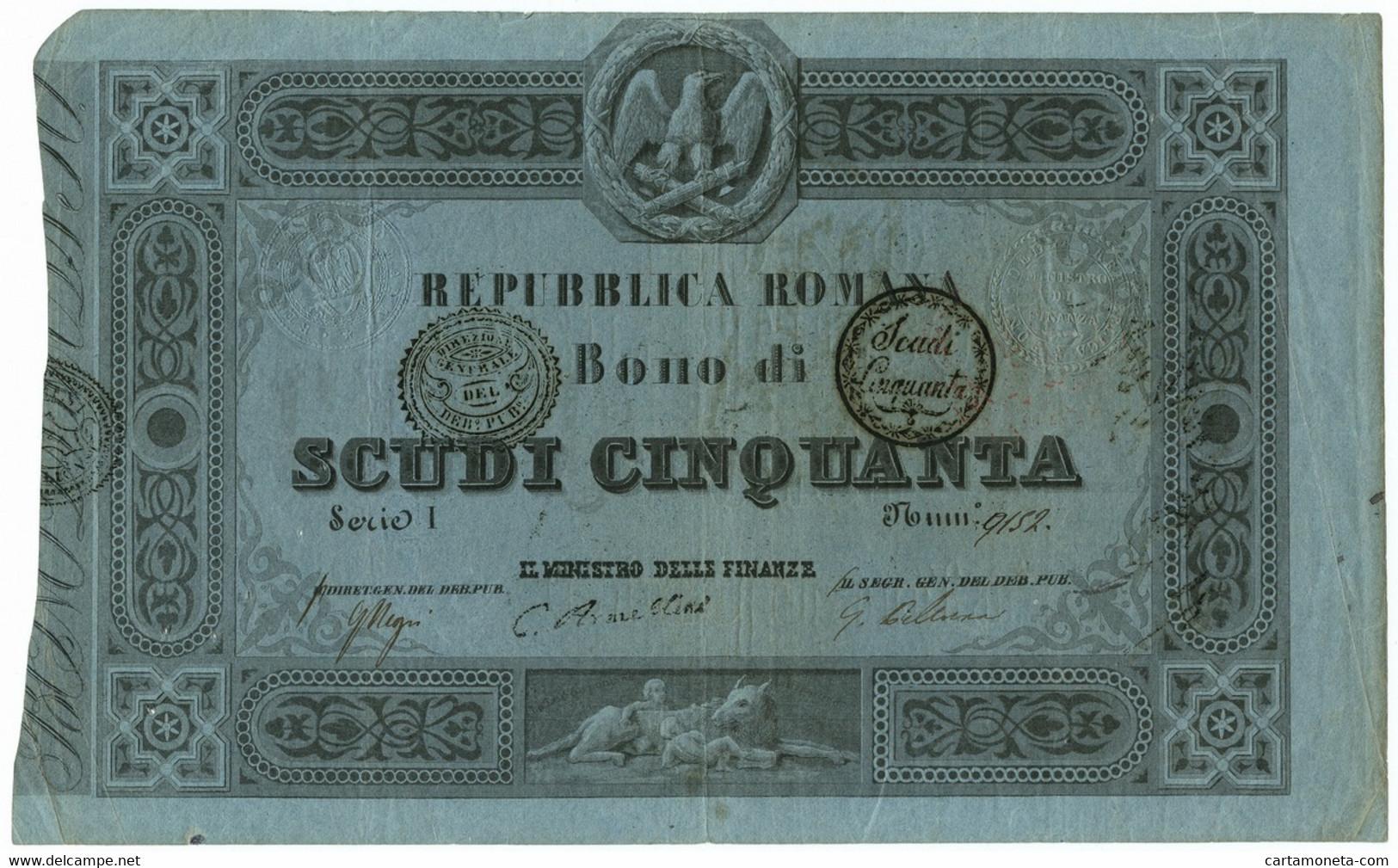 50 SCUDI REPUBBLICA ROMANA BONO 18/04/1849 BB - Italia