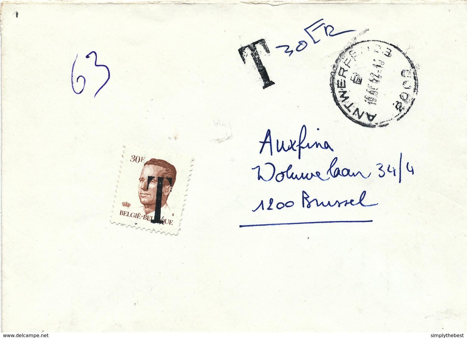377/29 - Enveloppe Non Affranchie ANTWERPEN 1992 Vers 1200 BRUSSEL - Taxée Par TP Velghe 30 F Griffe T - 1981-1990 Velghe