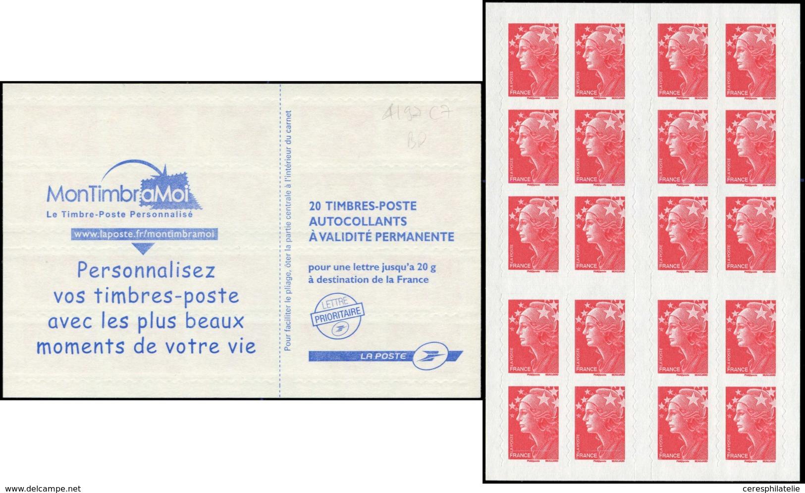CARNETS (N°Cérès Jusqu'en1964) -  4197-C7    Beaujard, TVP Rouge, Carnet DAB, PHOSPHO à CHEVAL Sur Les 4 Ex. Du Bas, TB - Booklets