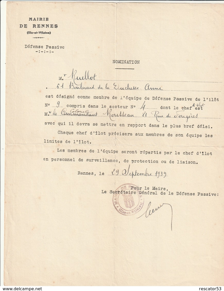 Rare Nomination De La Mairie De Rennes à L'équipe De La Défense Passive Ilôt N°9 Commandé Par Le Colonel Rousseau 1939 - 1939-45