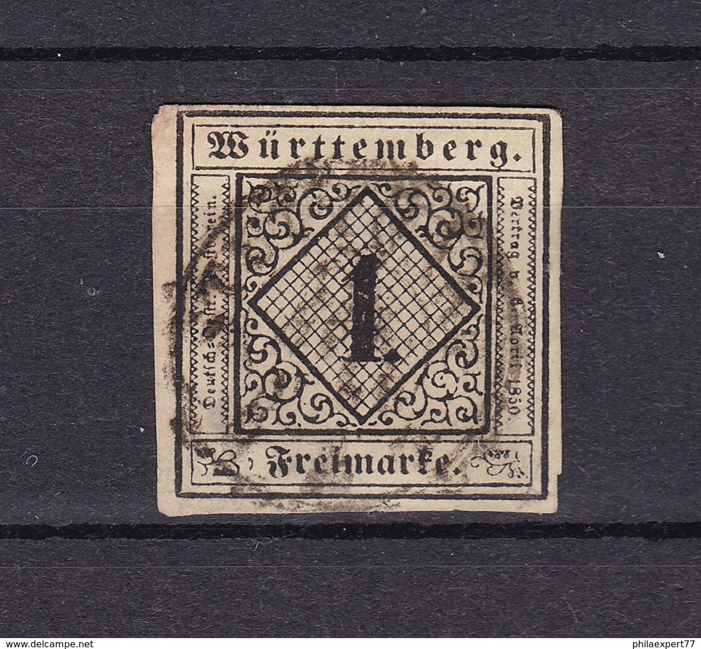 Wuerttemberg - 1851/52 - Michel Nr. 1 B - Gepr. - 130 Euro - Wuerttemberg