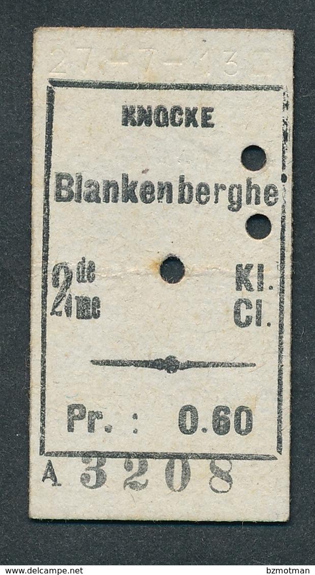 JZ1122 Belgique SNCV 2me Cl Knocke - Blankenberghe 27-7-13 Billet Ticket Fahrkarte - Spoorwegen