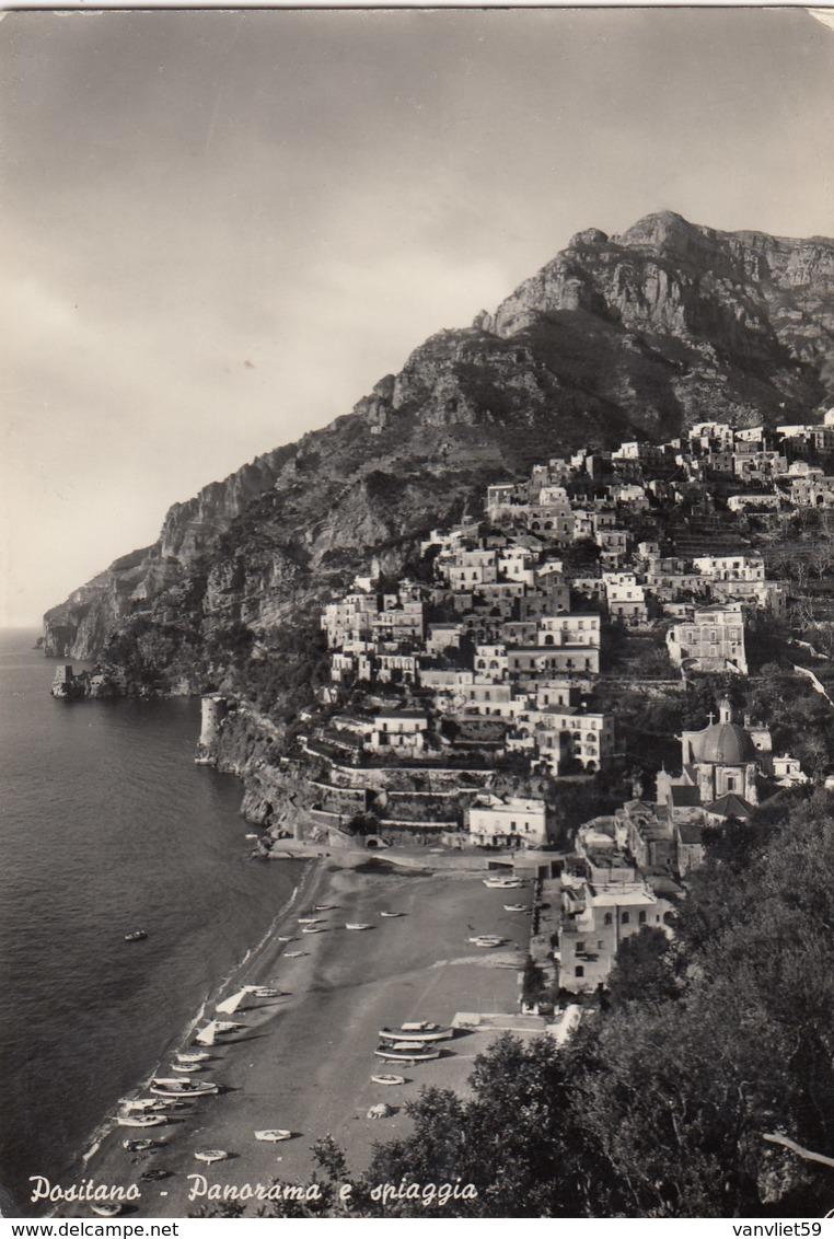 POSITANO-SALERNO-PANORAMA E SPIAGGIA-CARTOLINA VERA FOTOGRAFIA-VIAGGIATA IL 30-7-1959 - Salerno