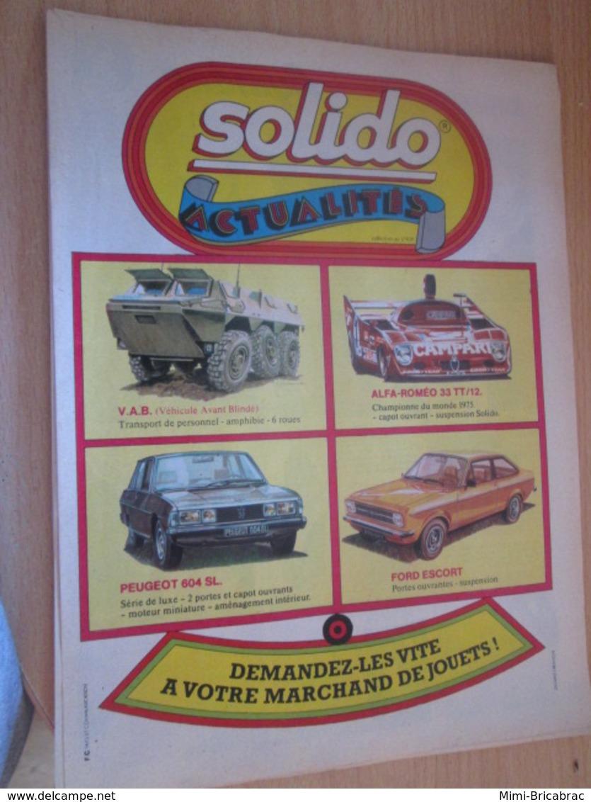 SPI2019 Pour Collectionneurs  PUBLICITE 60/70 ; Format A4 SOLIDO ACTUALITES Issu De Revue Spirou De 75/76 - Solido