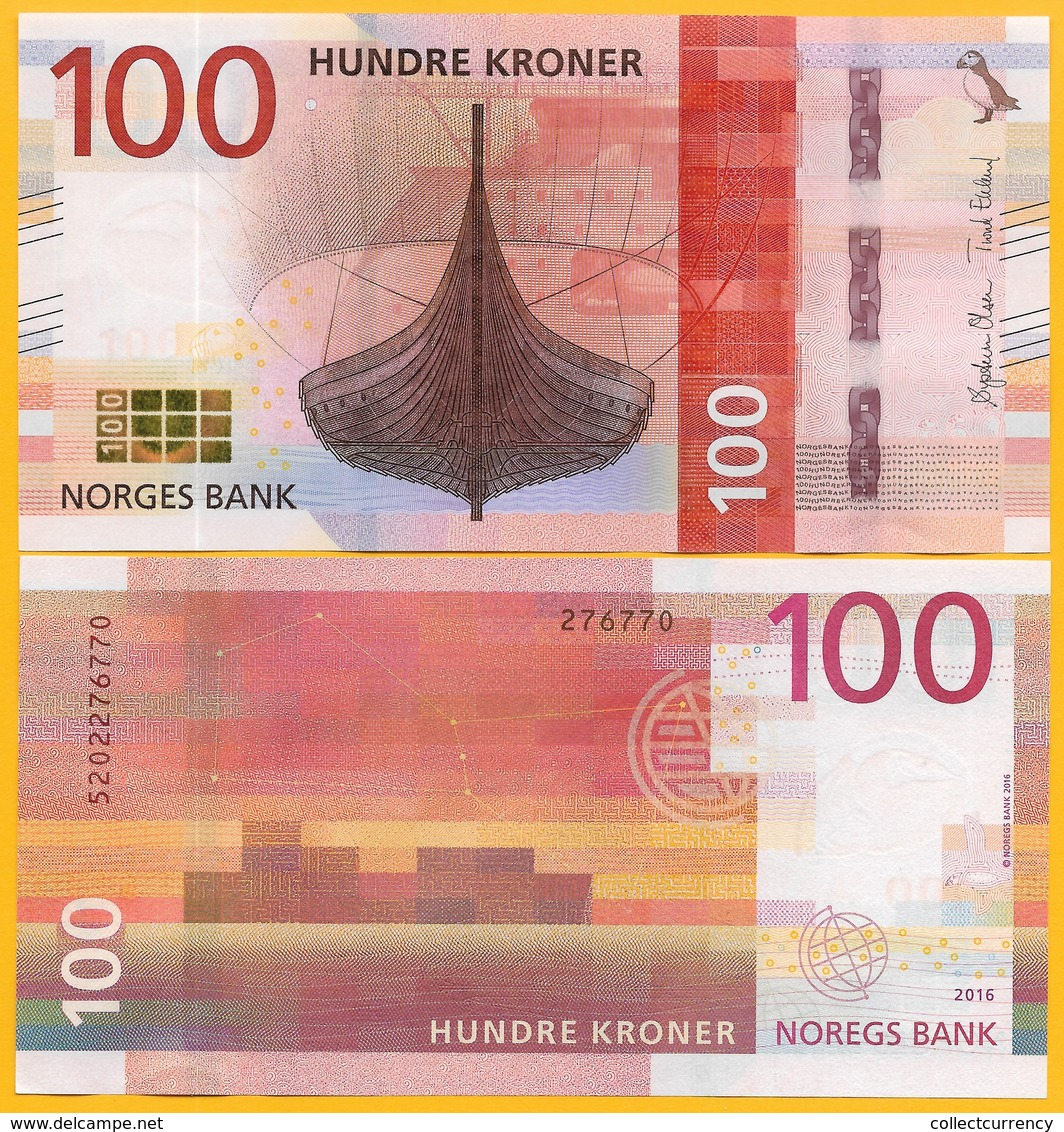 Norway 100 Kroner P-54 2016 UNC Banknote - Norvegia