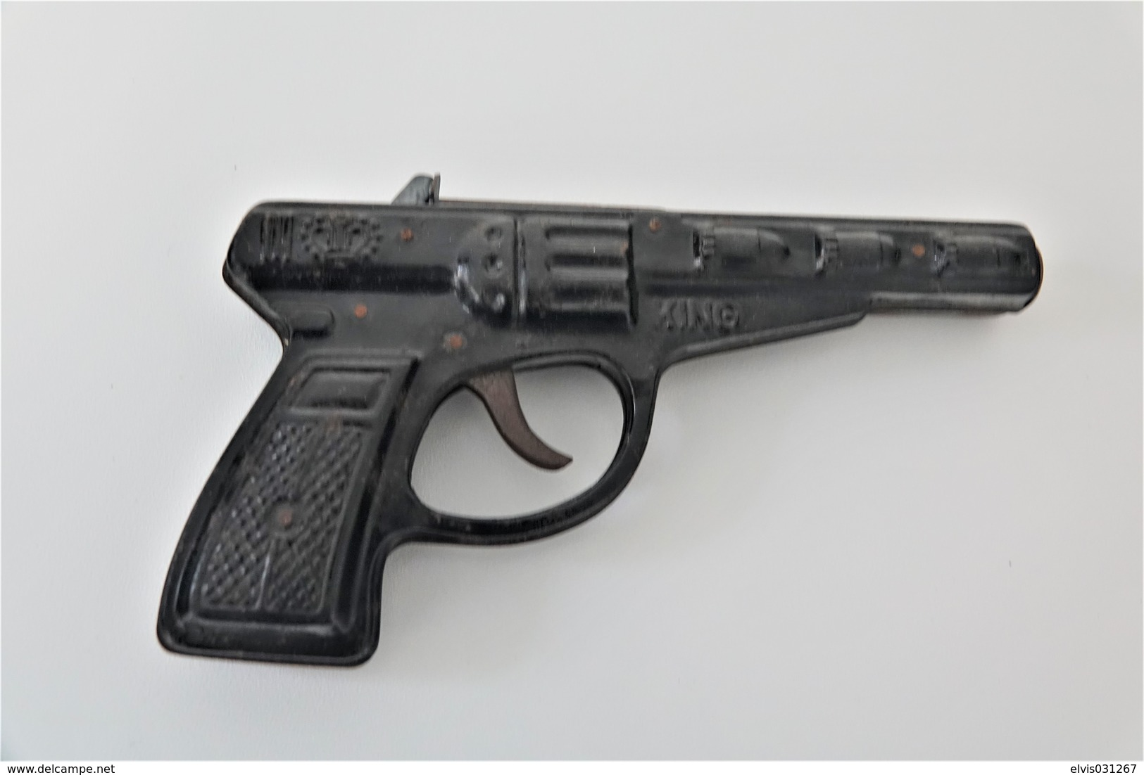 Vintage TOY GUN : TIN TOY KING GUN With EMAIL PIECE - L=19.0cm - 1950s  - Keywords : Cap - Rifle - Revolver - Pistol - Decotatieve Wapens