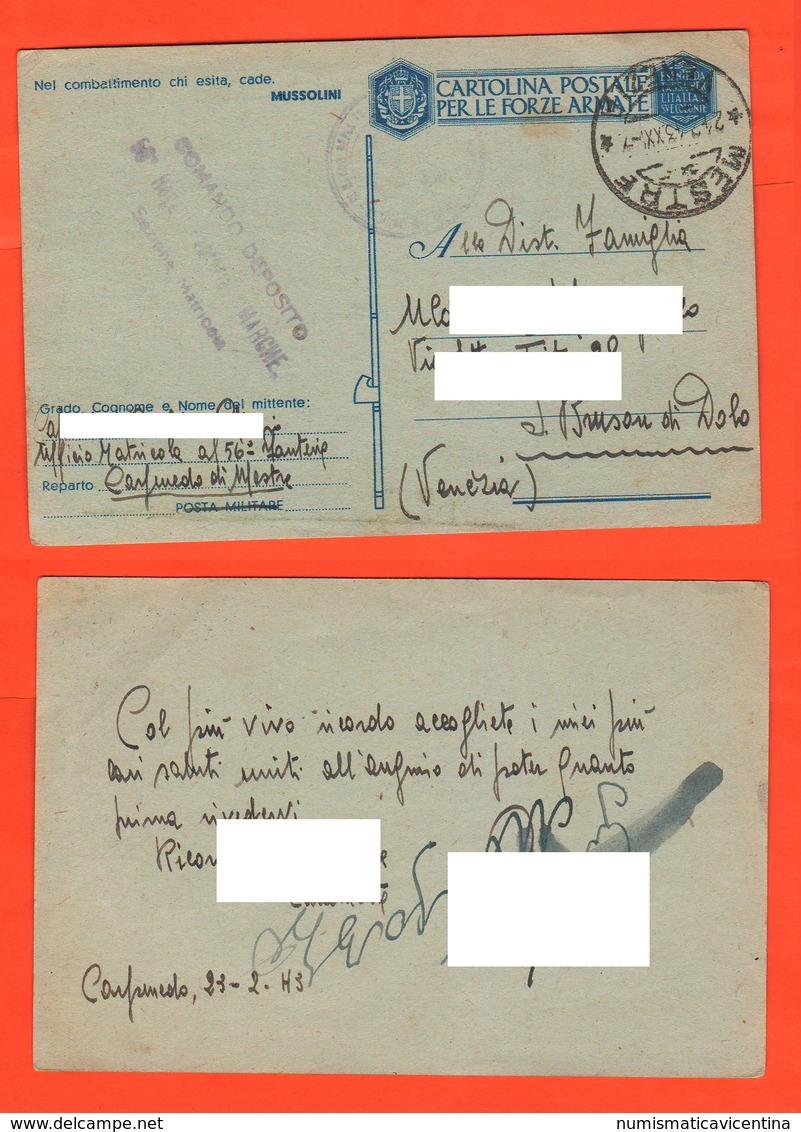 56° Fanteria MESTRE Posta Militare 1942 Da Carpenedo X Venezia Franchigie Forze Armate - 1900-44 Vittorio Emanuele III
