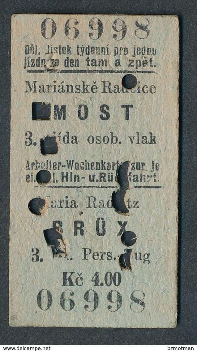 QY4430 CZECHOSLOVAKIA 3rd Cl Marianske Radcice - Most 1925 Billet Ticket Fahrkarte - Spoorwegen