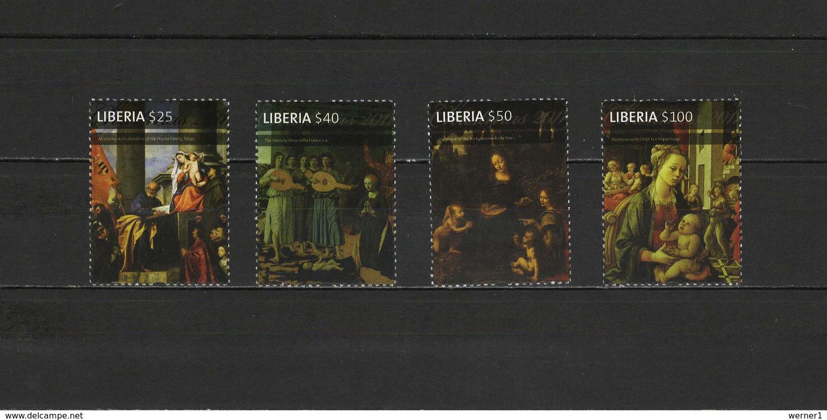Liberia 2011 Paintings Titian - Tiziano, Da Vinci Etc. Set Of 4 MNH - Arte
