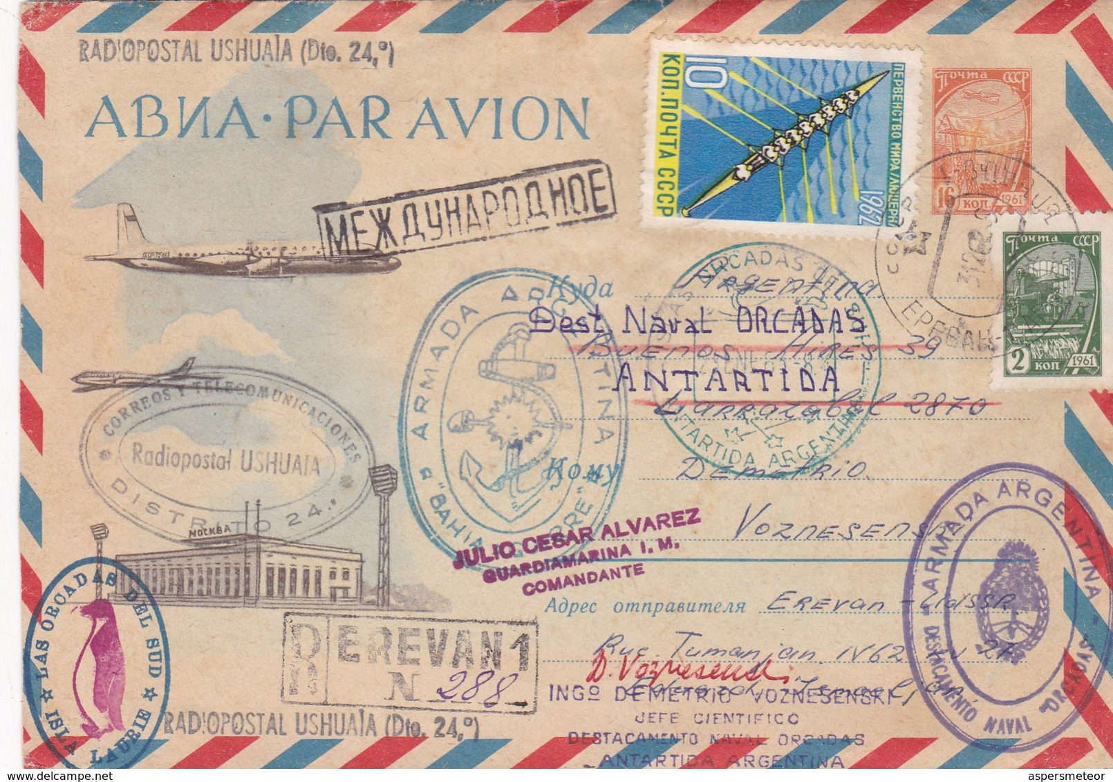1962 ENTIER STATIONERY RUSSIA, CIRCULEE TO DESTAC NAVAL ORCADAS, ARGENTINE MIXED MARKS ANTARCTICA.. - BLEUP - Philatélie Polaire