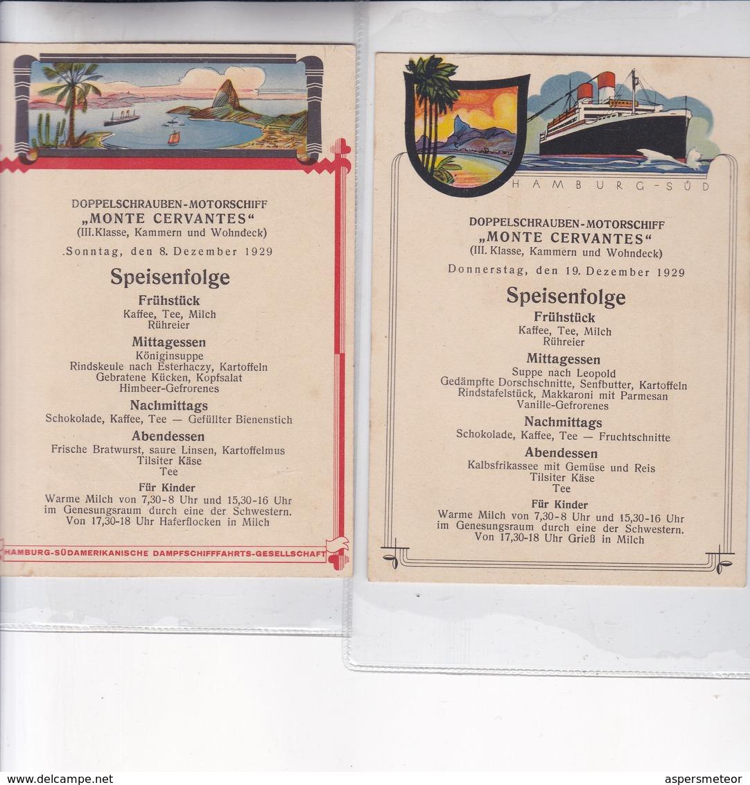 "1927 RARISIME LOTE X7 MENUS PAQUEBOT ""MONTE CERVANTES"" 10x15CM TBE - BLEUP HUNDIDO EN USHUAIA UN SOLO AÑO DE SERVICIO - Menus"