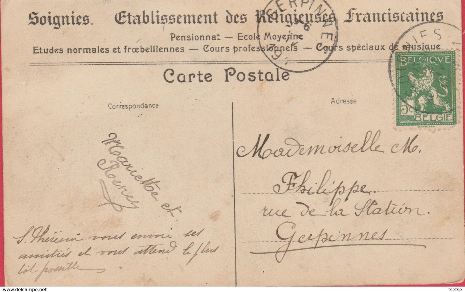 Soignies - Etablissement Des Religieuses - Pensionnat - Ecole Moyenne - Salle De Peinture  - 191? ( Voir Verso ) - Soignies