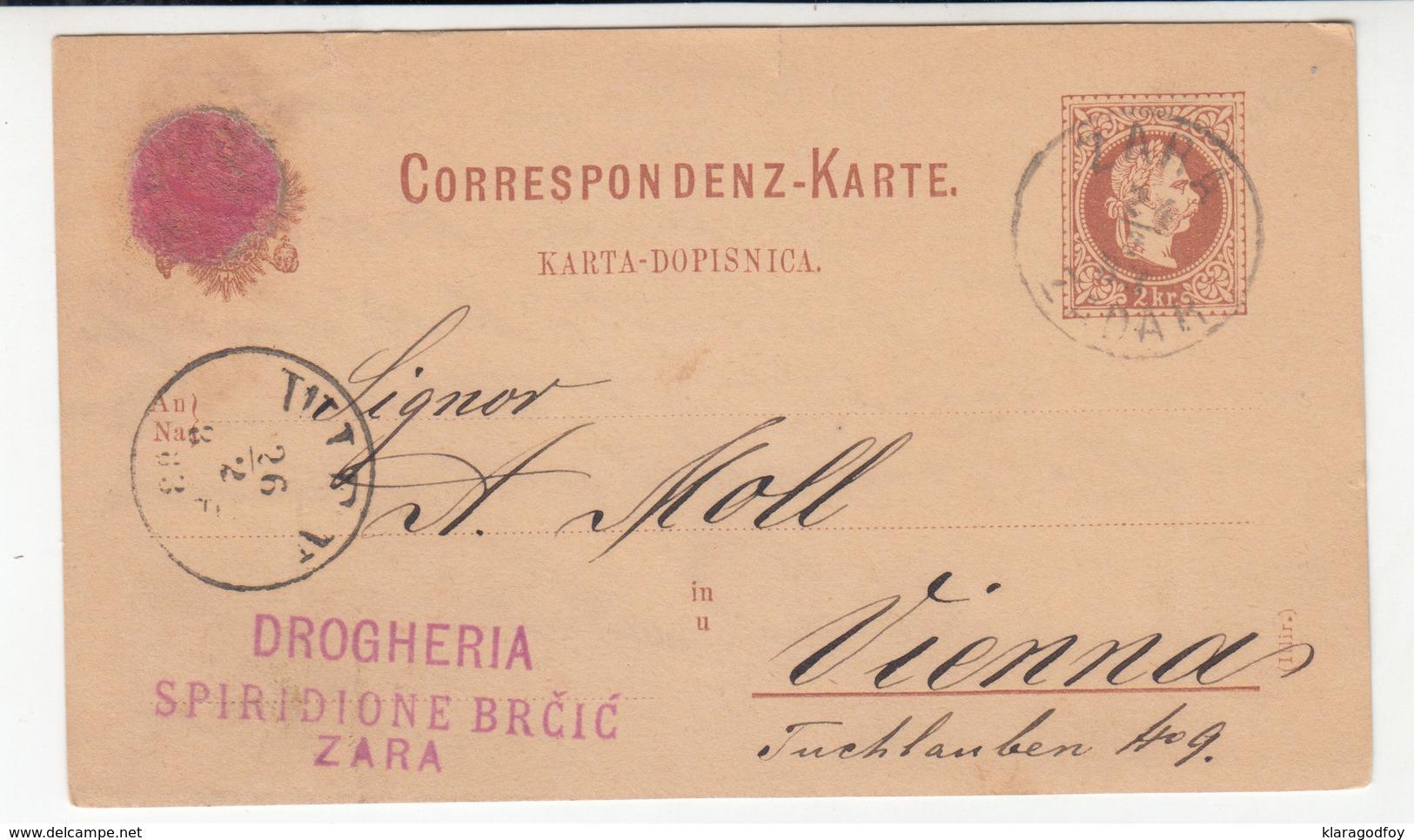 Austria Postal Stationery Postcard Karta-Dopisnica Travelled 1883 Drogheria Spiridione Brčić, Zara/Zadar To Wien B190710 - Croatia