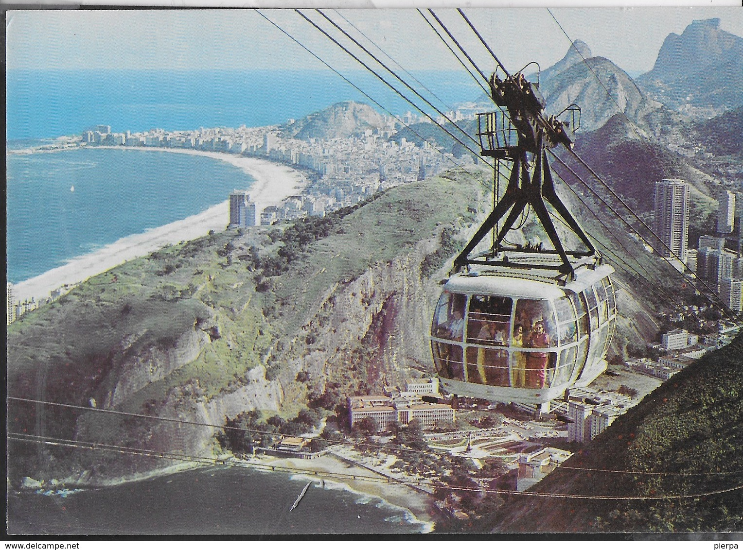 BRASILE - RIO DE JANEIRO - VEDUTA AEREA CON FUNIVIA - VIAGGIATA 1988 AFFRANCATURA MECCANICA ROSSA - Rio De Janeiro