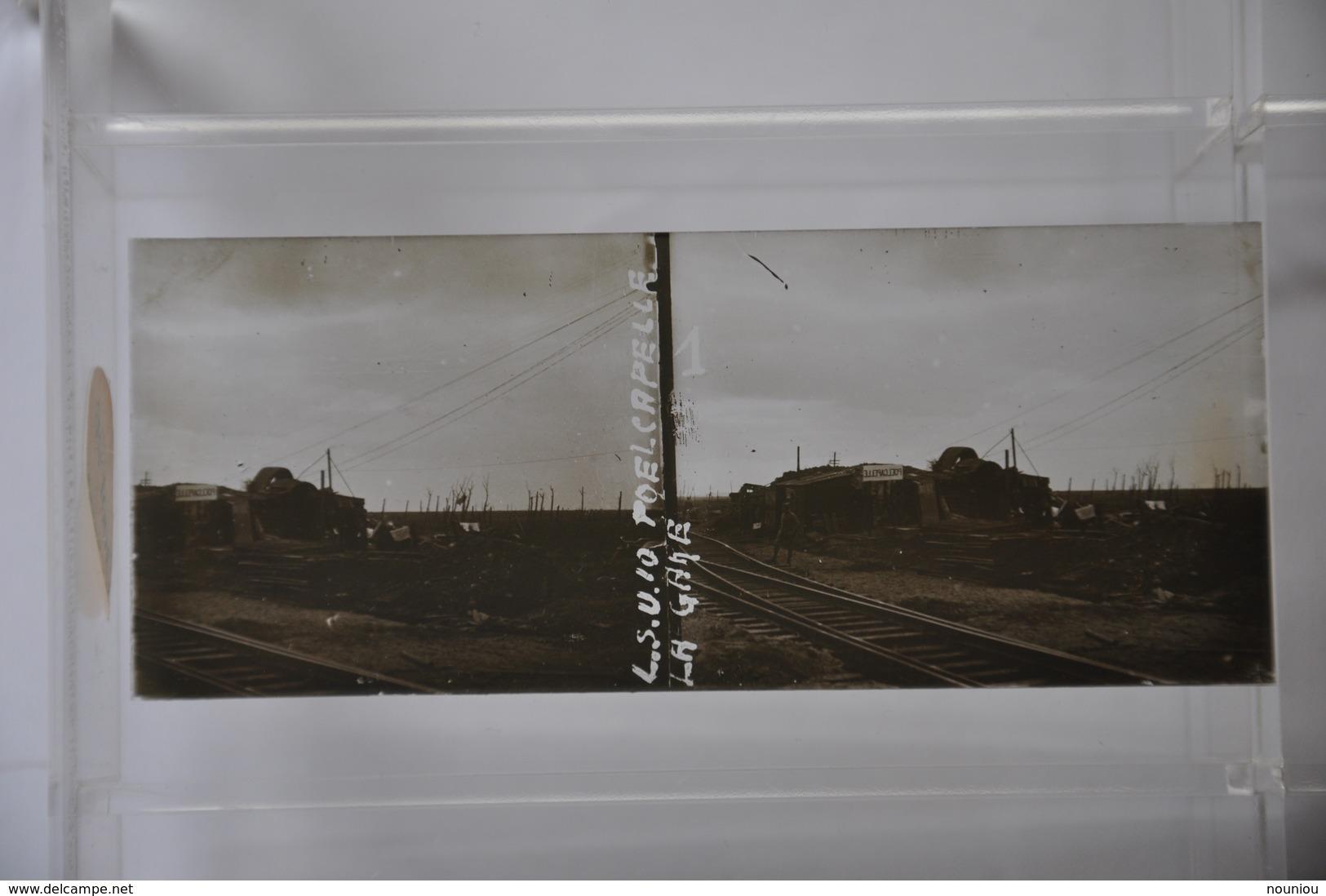 Vue Stéréoscopique - La Gare De POELCAPELLE Poelkapelle (Belgium) - Station War WW1 Guerre - Chemin De Fer Railroad - Diapositivas De Vidrio