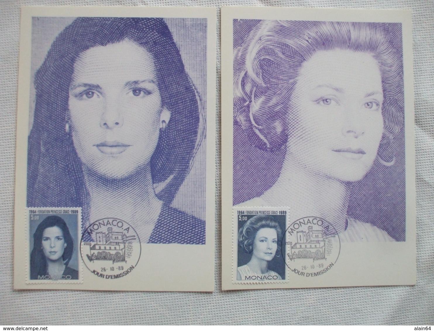 2 CP, Fondation Princesse Grace. 1989. TTB - Cartas Máxima