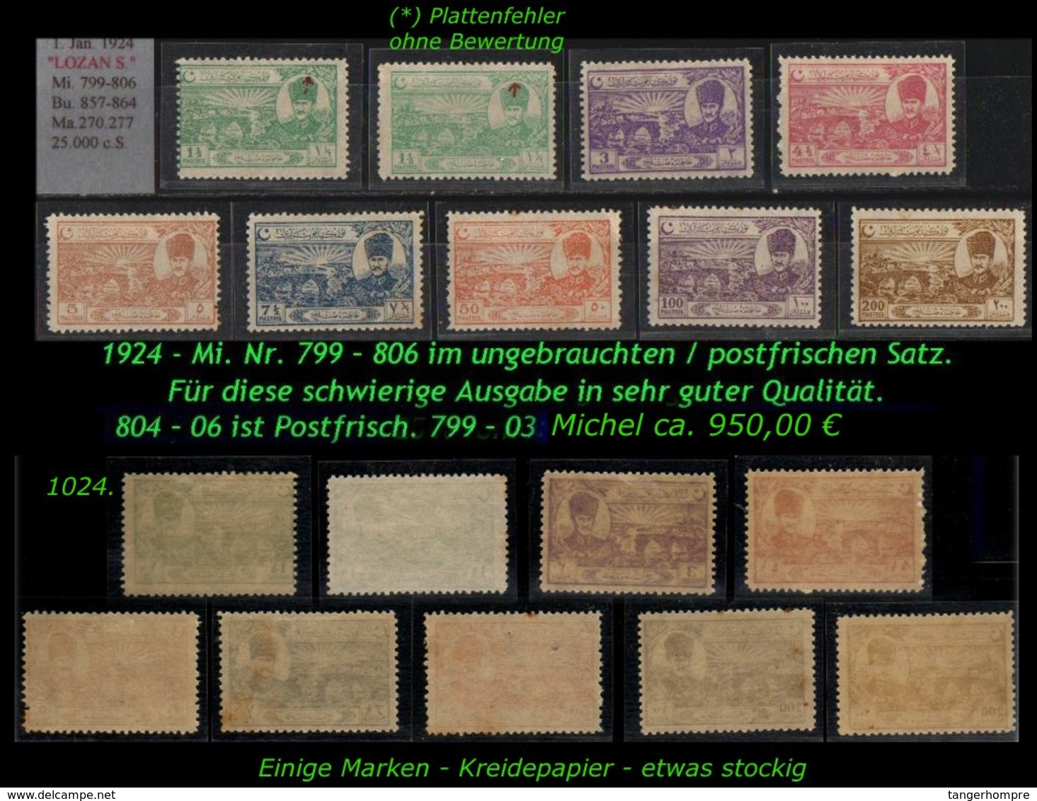 EARLY OTTOMAN SPECIALIZED FOR SPECIALIST, SEE...Mi. Nr. 799 - 806 - Nuevos