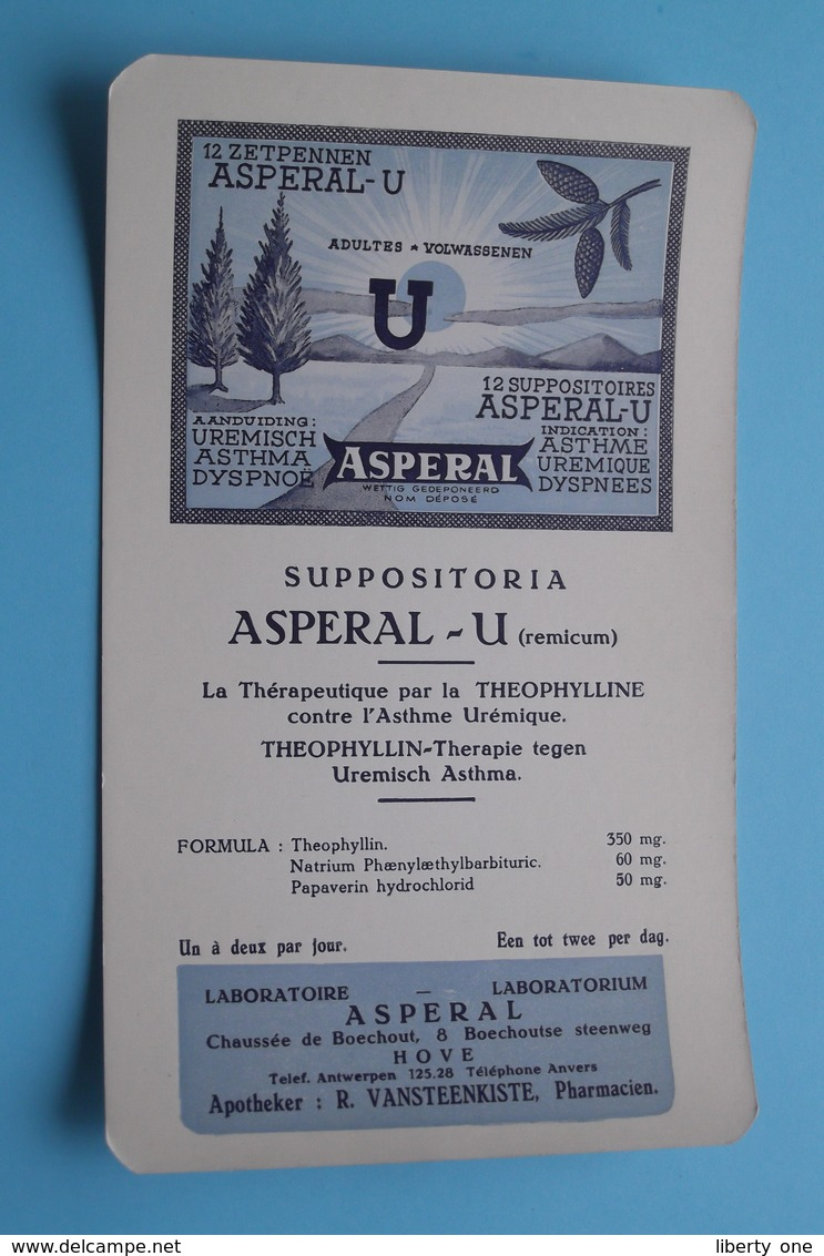 ASPERAL U - Suppositoria / Labo Asperal HOVE Boechoutsestwg.- Apotheker Vansteenkiste ( +/- 11,5 X 20 Cm. > Zie Foto ) - Produits Pharmaceutiques
