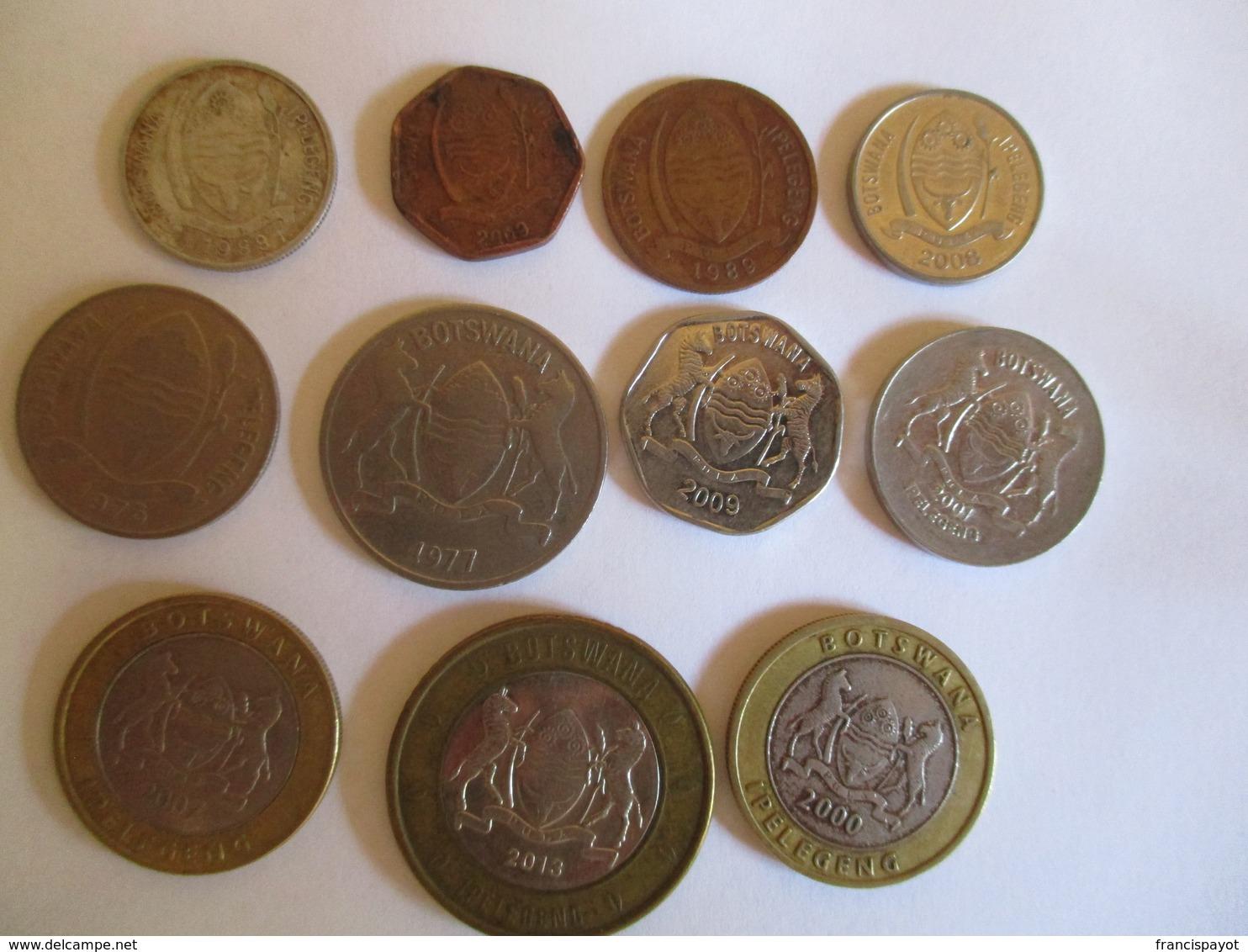 Botswana: Lot Of 11 Coins 1977 - 2013 - Botswana