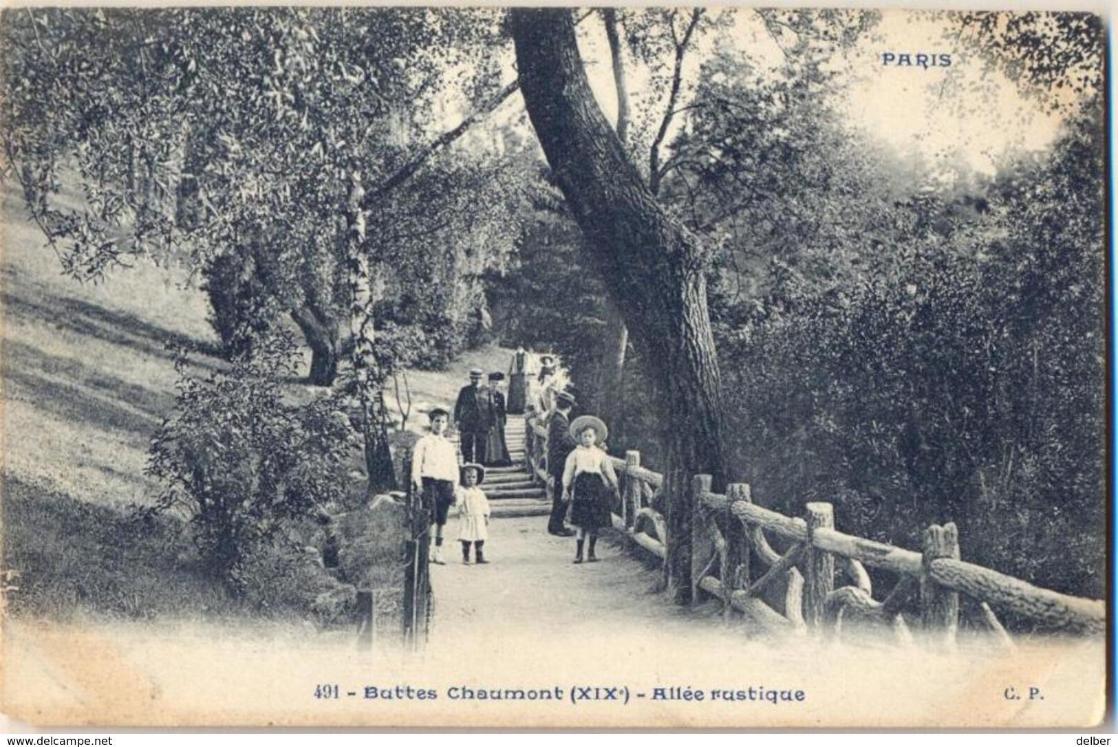 N402: 491- Buttes Chaumont(XIXe) - Allée Rustique.... Wat Vuil..... - Arrondissement: 19