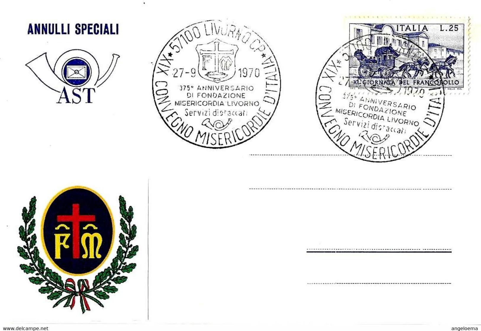 ITALIA - 1970 LIVORNO XIX Convegno MISERICORDIE D'Italia - 375° Misericordia Di Livorno (stemma) - Buste