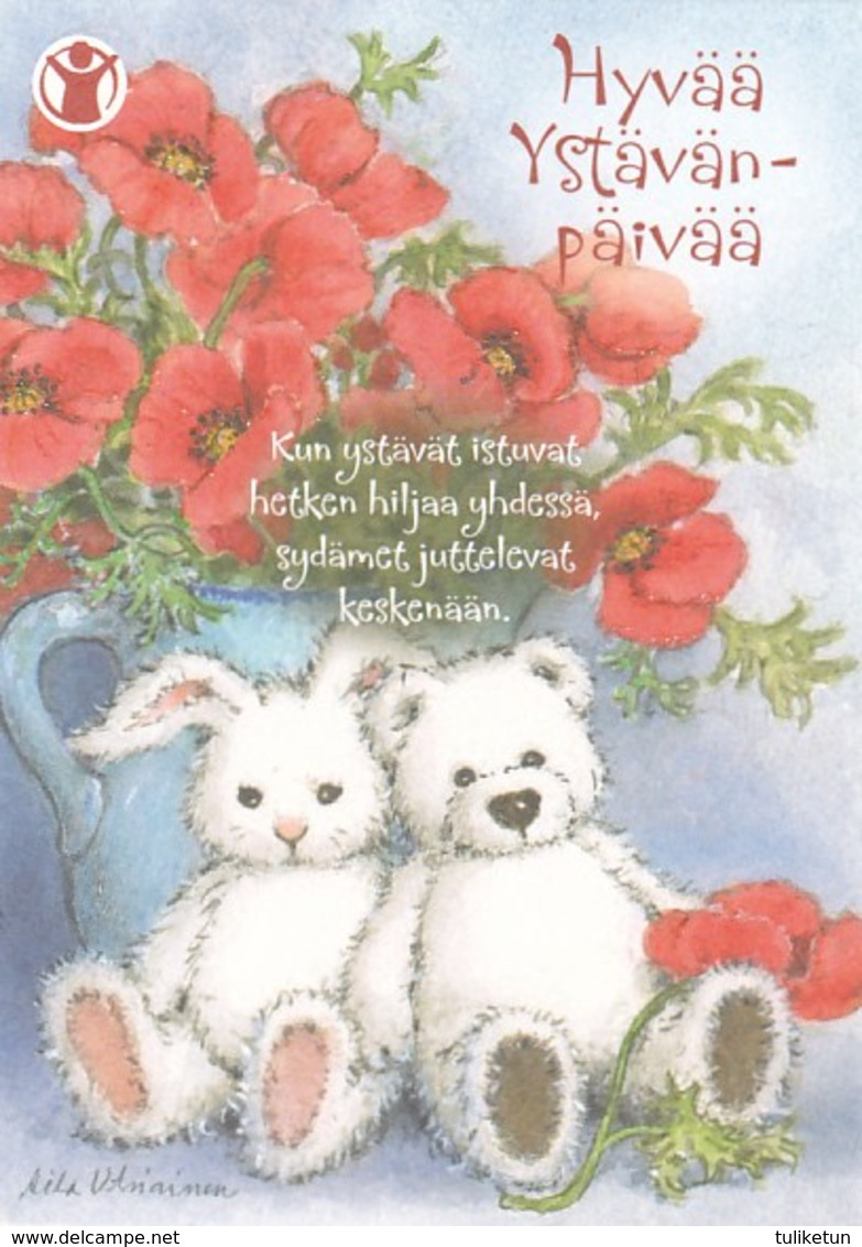 Postal Stationery - Birds - Doves - Teddy Bears Sitting Together - Save The Kids - Suomi Finland - Postage Paid - Finlandia
