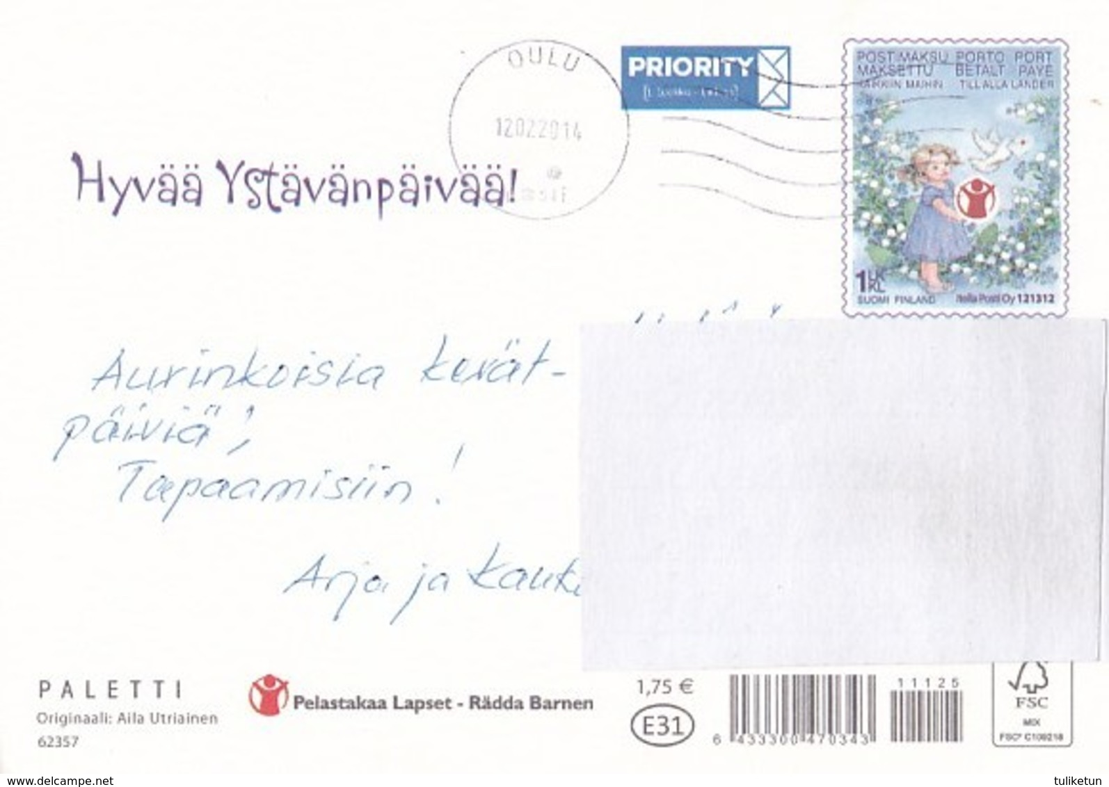 Postal Stationery - Birds - Doves - Teddy Bears Sitting Together - Save The Kids - Suomi Finland - Postage Paid - Interi Postali