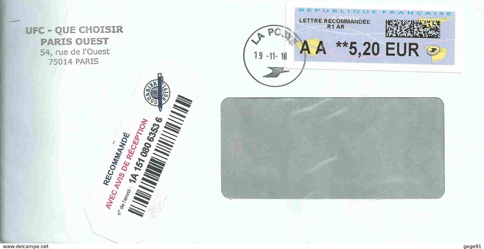Vignette De Distributeur LISA -ATM - Avec Code Datamatrix - AA = Lettre Recommandée - 2000 Type «Avions En Papier»