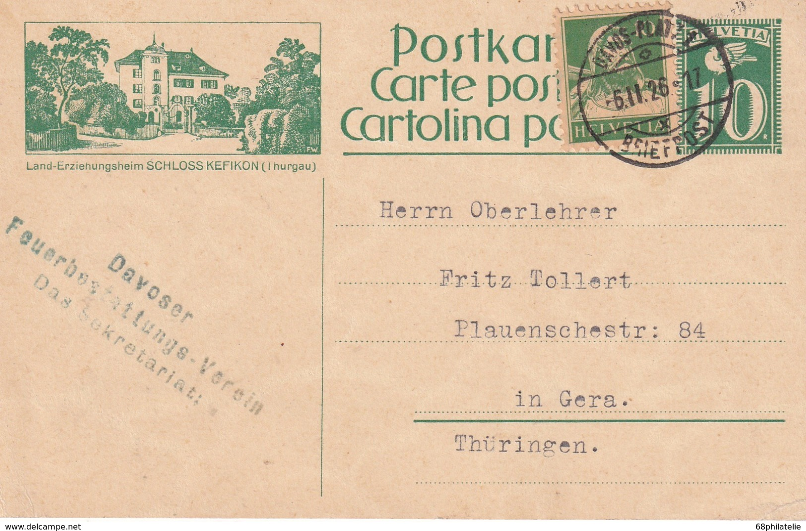 SUISSE 1926  ENTIER POSTAL/GANZSACHE/POSTAL STATIONERY CARTE ILLUSTREE DE DAVOS - Interi Postali