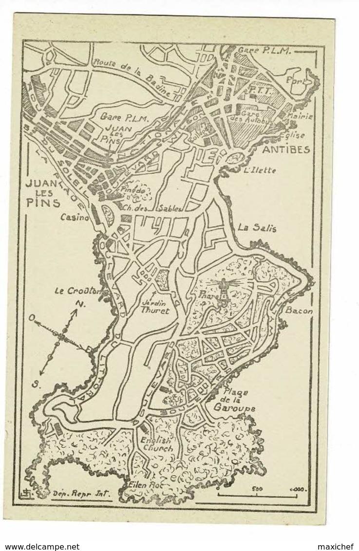 Juan Les Pins - Antibes - Le Cap D'Antibes - Plan Dessiné Façon Carte Routière Avec échelle Et Orientation - Pas Circulé - Cartes Géographiques