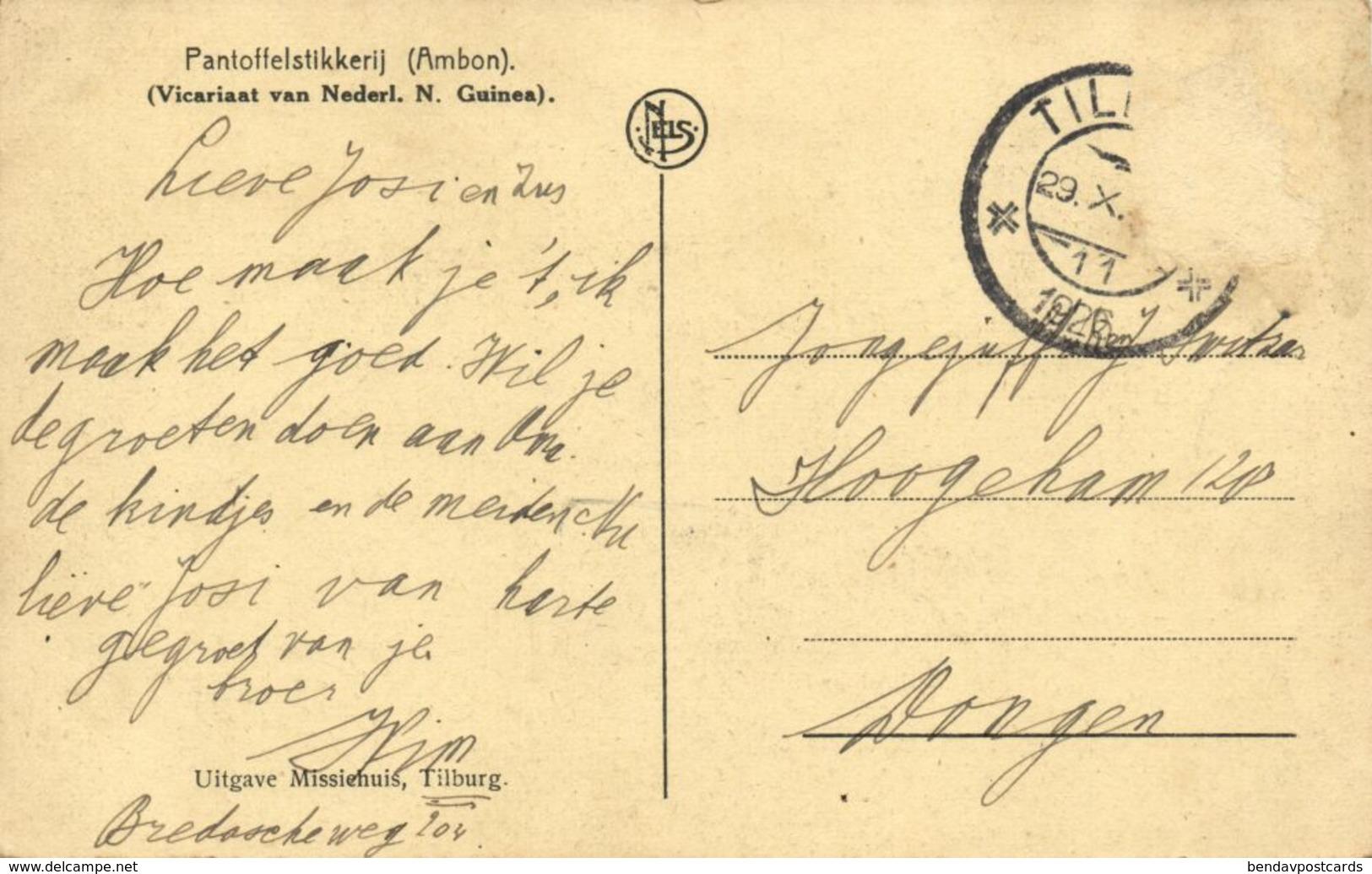 Indonesia, MOLUCCAS MALUKU AMBON, Slipper Stitching (1926) Mission Postcard - Indonesia