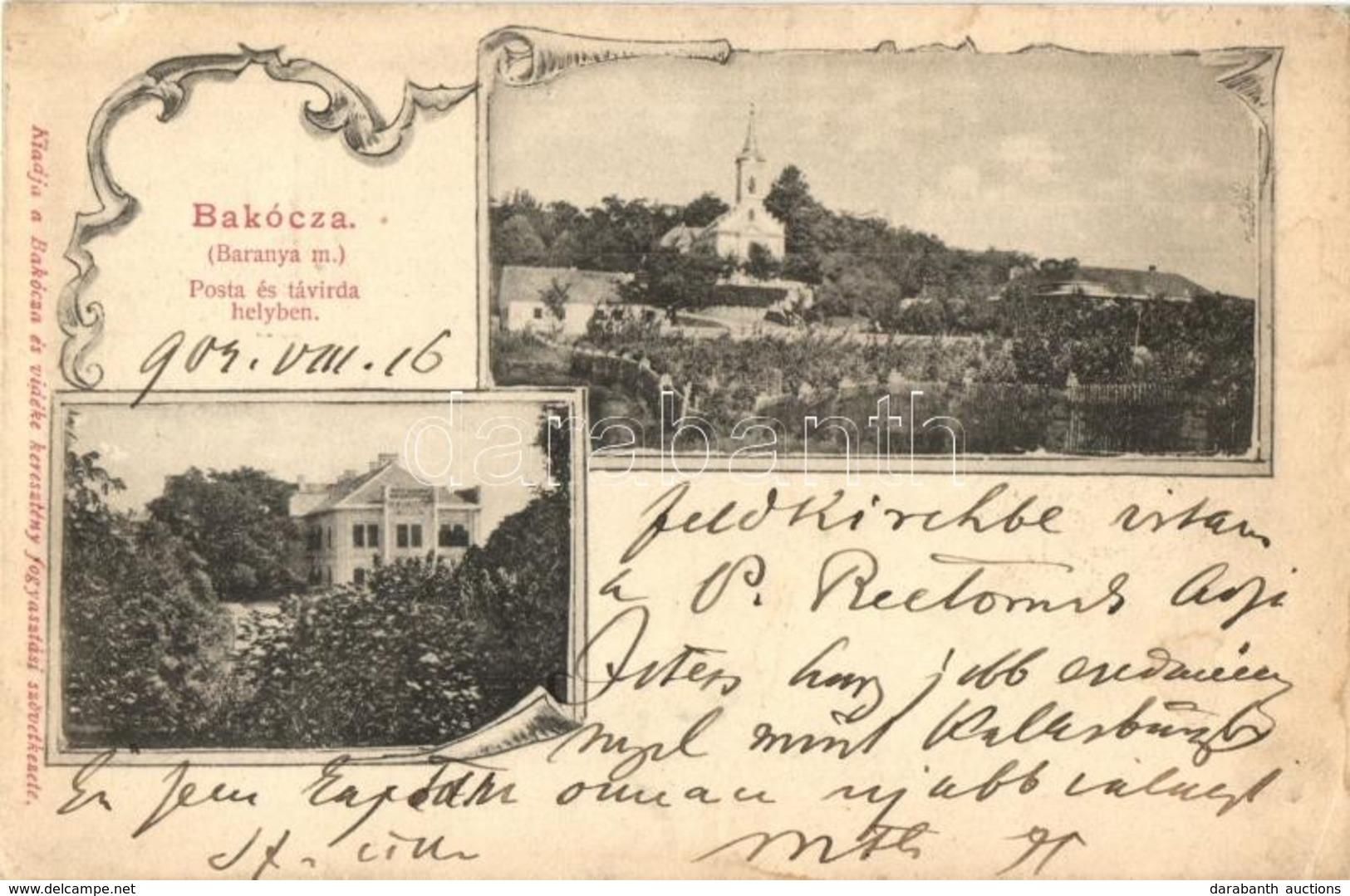 * T2/T3 Bakóca, Katolikus Templom, Majláth Kastély, Kiadja Bakóca és Vidéke Keresztény Fogyasztási Szövetkezete, Art Nou - Postcards