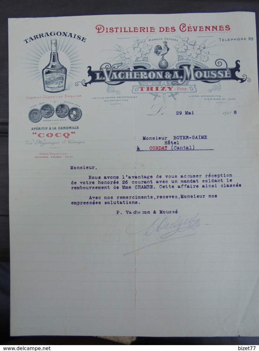 69 - THIZY - DISTILLERIES DES CEVENNES - L. VACHERON ET A. MOUSSE - 1918 - BELLE DECO AVEC UN COQ - France