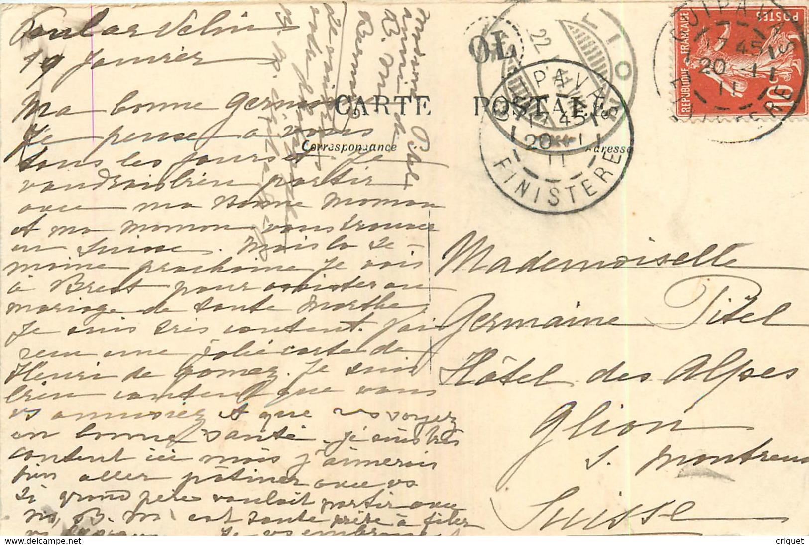 29 Guipavas, Le Manoir Poul Ar Velin, Homme Et Enfant Sur Un âne, Belle Carte Pas Courante Affranchie 1911 - France