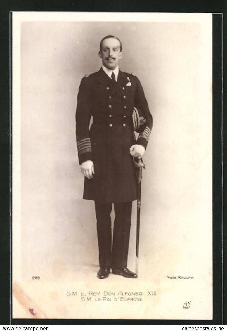 Postal S. M. El Rey Don Alfonso XIII In Eleganter Uniform - Familles Royales