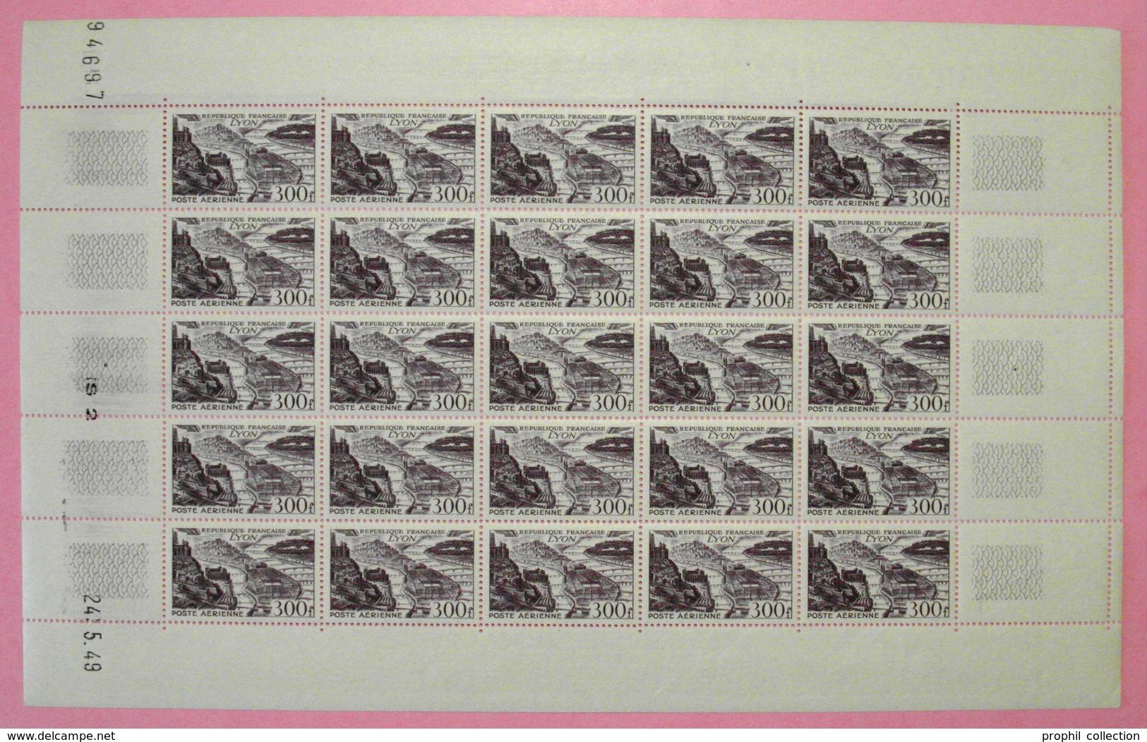 RARE FEUILLE COMPLETE DE LA POSTE AERIENNE PA N° 26 NEUF ** 300F VIOLET Avec COIN DATÉ De 1949 - Feuilles Complètes