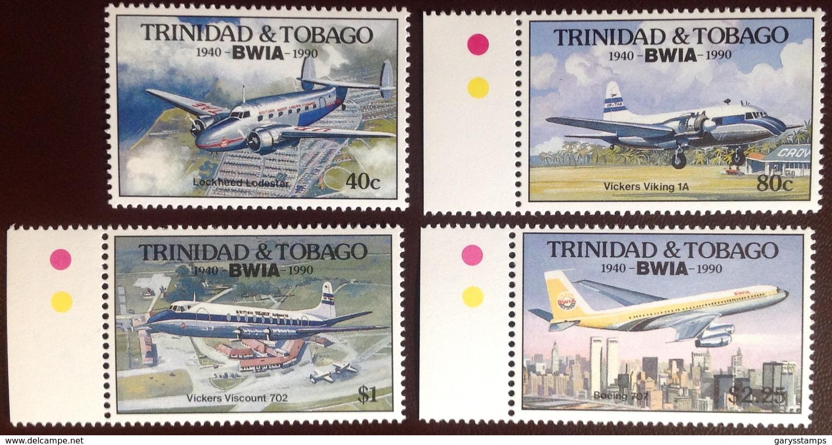 Trinidad & Tobago 1990 BWIA Anniversary Aircraft Aviation MNH - Trinidad & Tobago (1962-...)