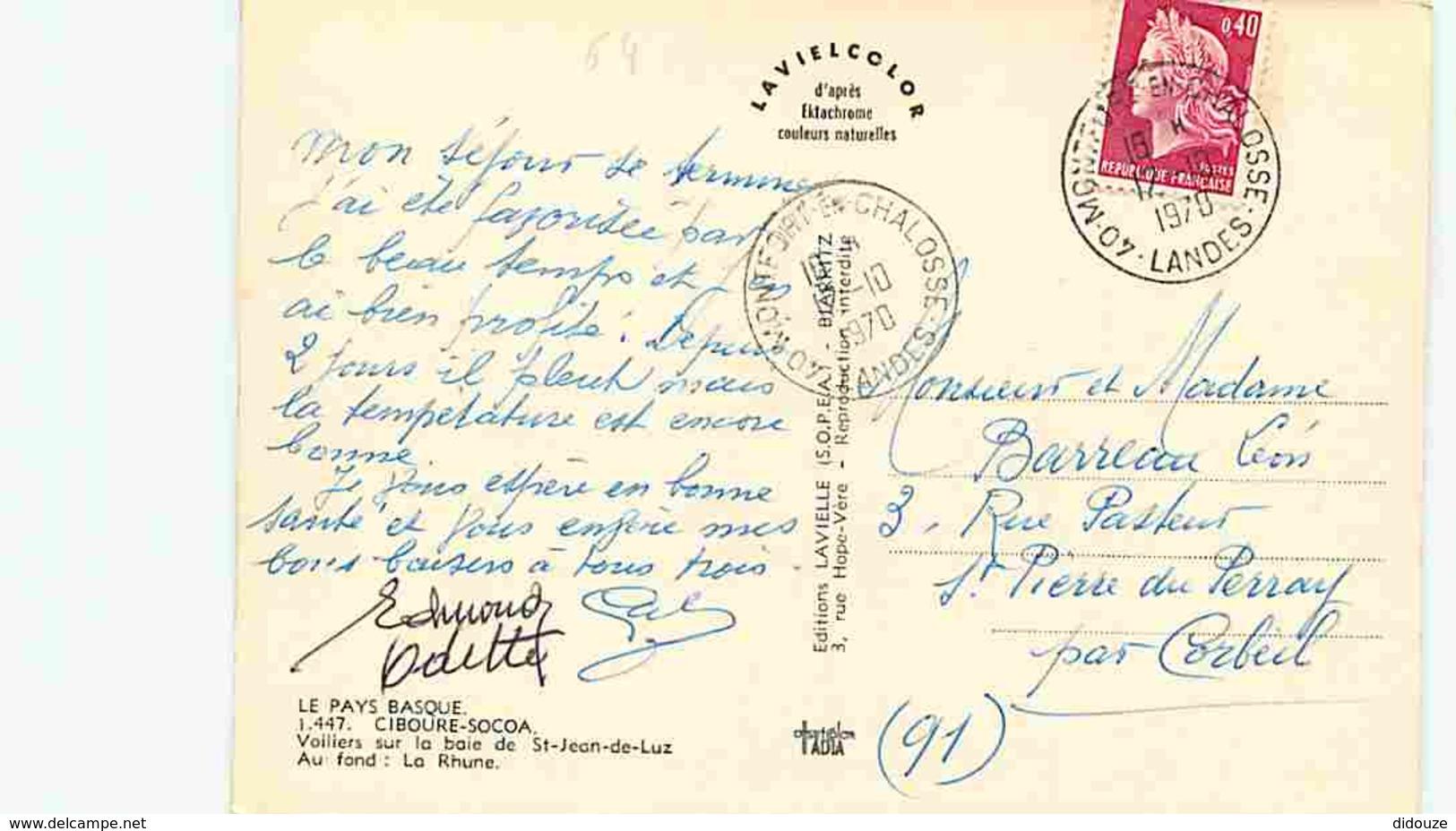 64 - Ciboure - Soccoa - Voiliers Sur La Baie De St Jean De Luz - Au Fond La Rhune - Voir Scans Recto-Verso - Autres Communes