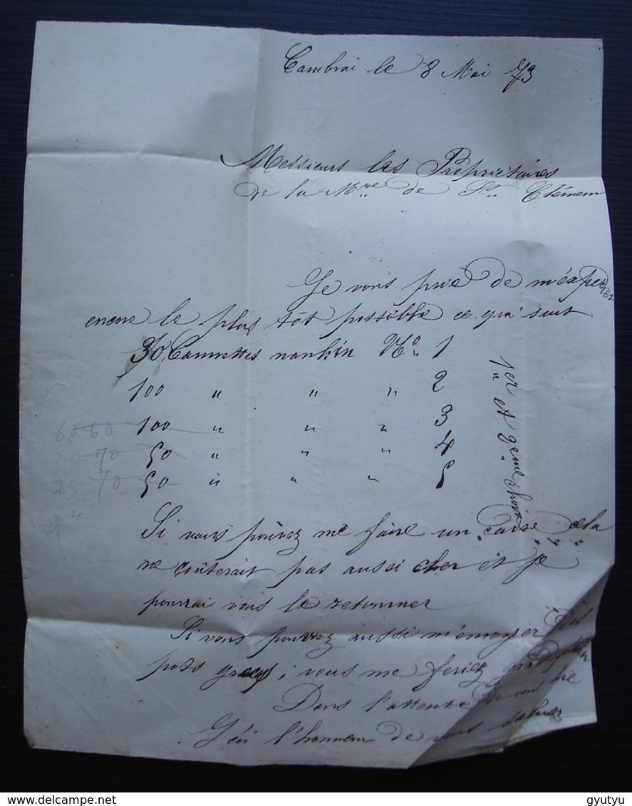 Cambrai 1873 Boulanger Raux, Glaces Faïences Porcelaines Cristaux Lettre Pour La Manufacture De Saint Clément - Marcophilie (Lettres)