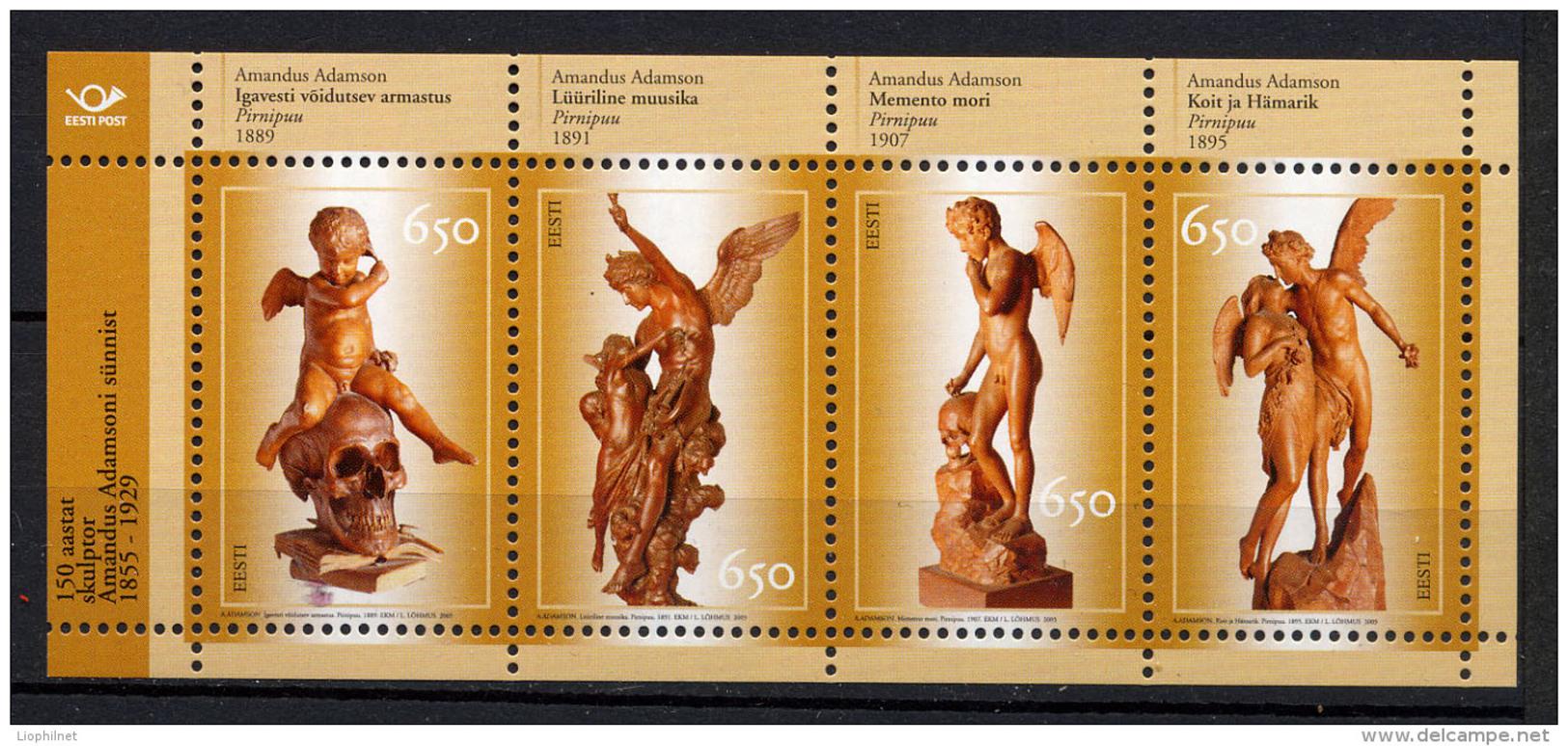 ESTONIE EESTI ESTONIA 2005, Sculptures Anges, Feuillet De 4 Valeurs, Neuf / Mint. R383 - Estonie