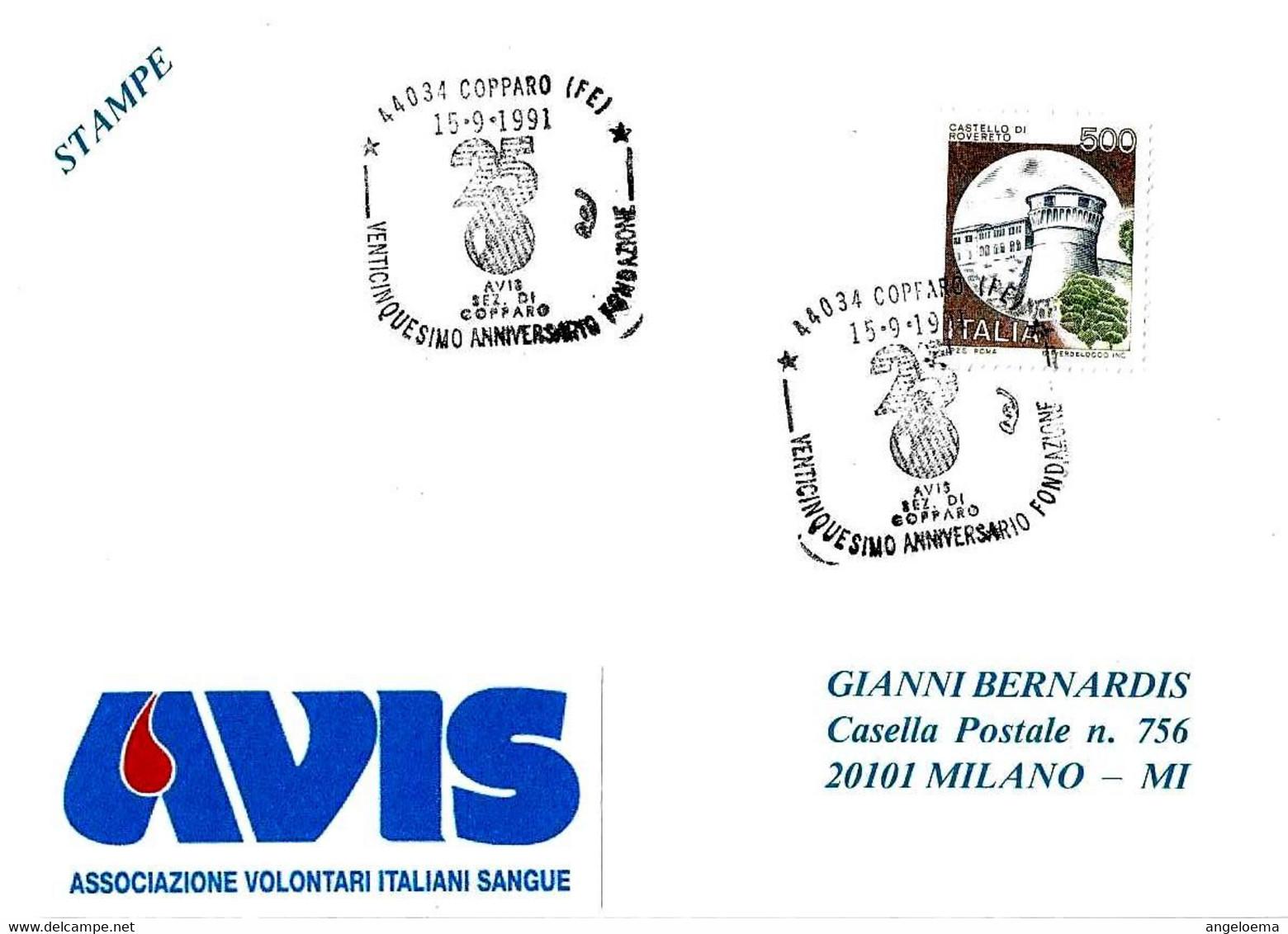 ITALIA - 1991 COPPARO (FE) 25° Fondazione Donatori Sangue AVIS - 1751 - Salute