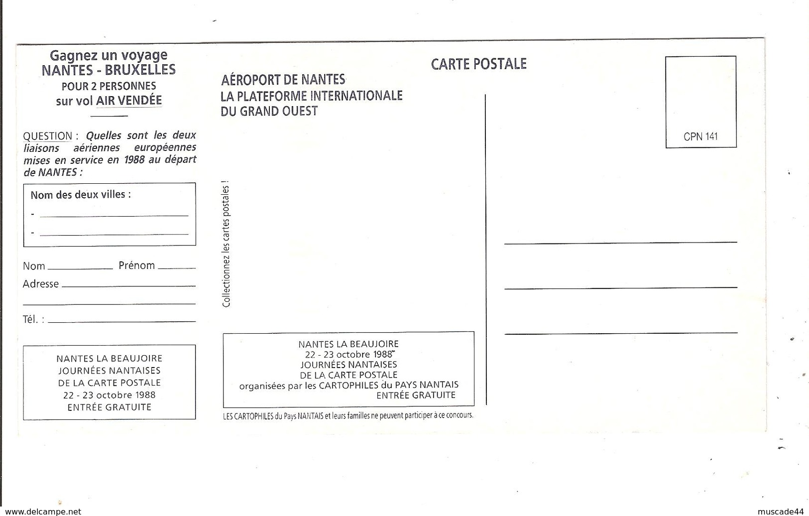 AEROPORT INTERNATIONAL DE NANTES - CARTE CONCOURS 1988 - Nantes