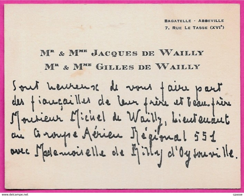 Carte FAIRE-PART De FIANCAILLES Mr Mme JACQUES & GILLES DE WAILLY Bagatelle 75016 Paris - Fiançailles