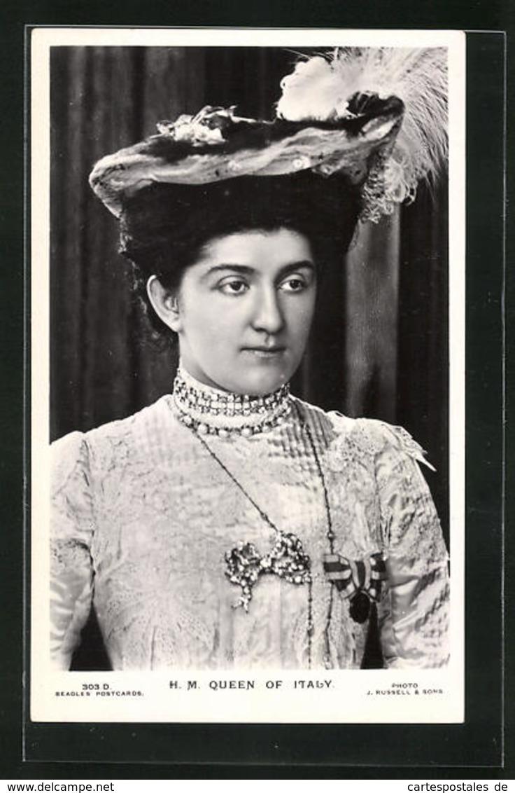 Cartolina Queen Of Italy, Königin Von Italien - Familles Royales