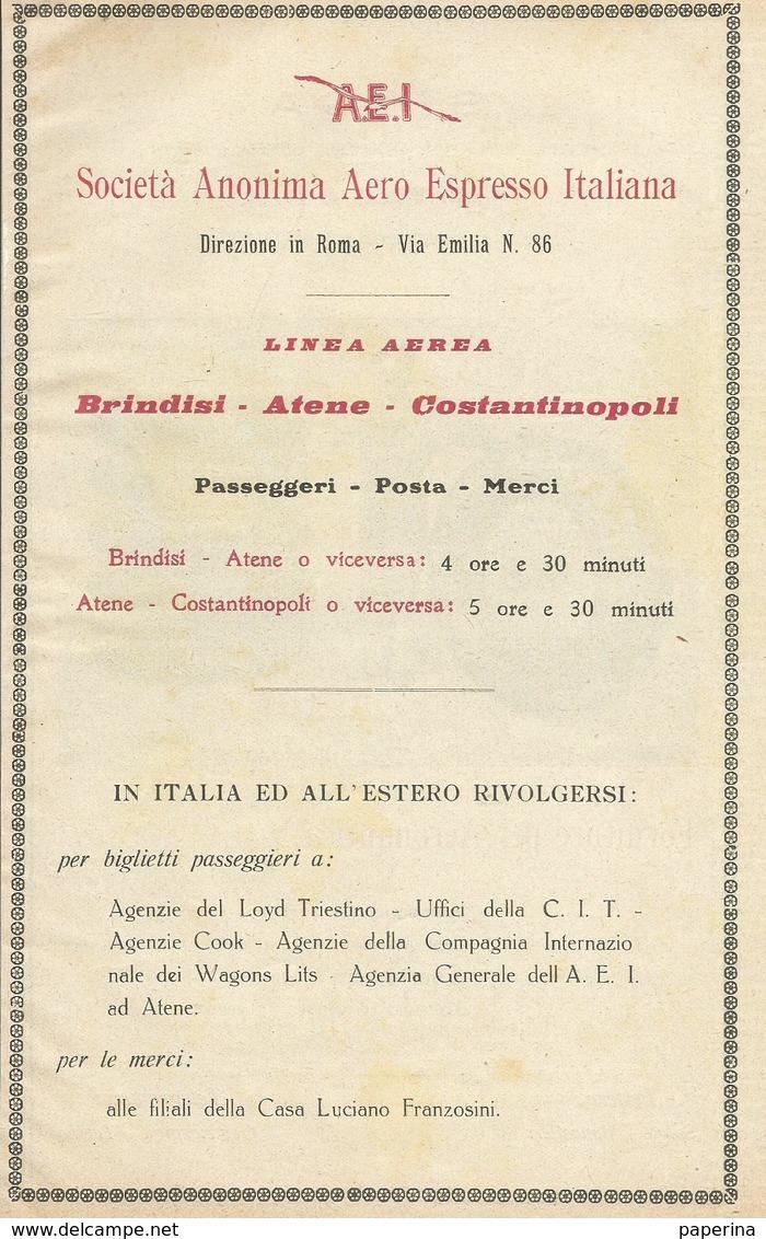 SOC. ANONIMA AERO ESPRESSO ITALIANA LINEA AEREA BRINDISI-ATENE-COSTANTINOPOLI  1928  PUBBLICITA' RIT. DA GIORNALE (17) - Pubblicitari
