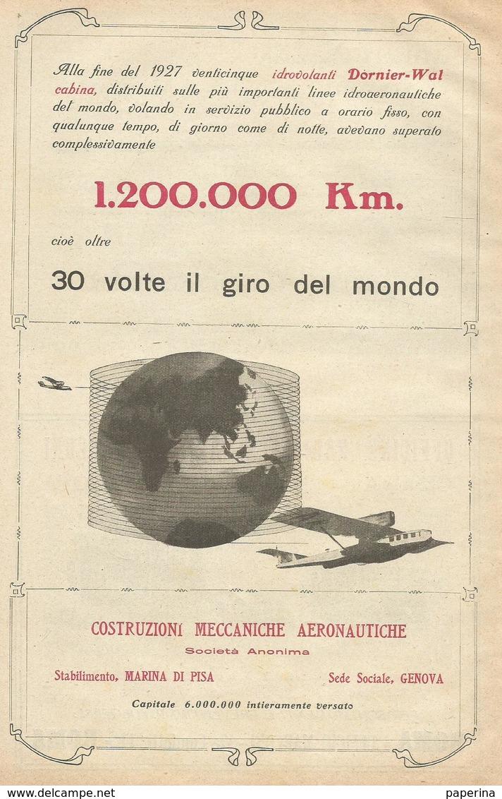 IDROVOLANTI DORNIER-WAL CABINA STAB. MARINA DI PISA 1928  PUBBLICITA' RIT. DA GIORNALE (18) - Pubblicitari