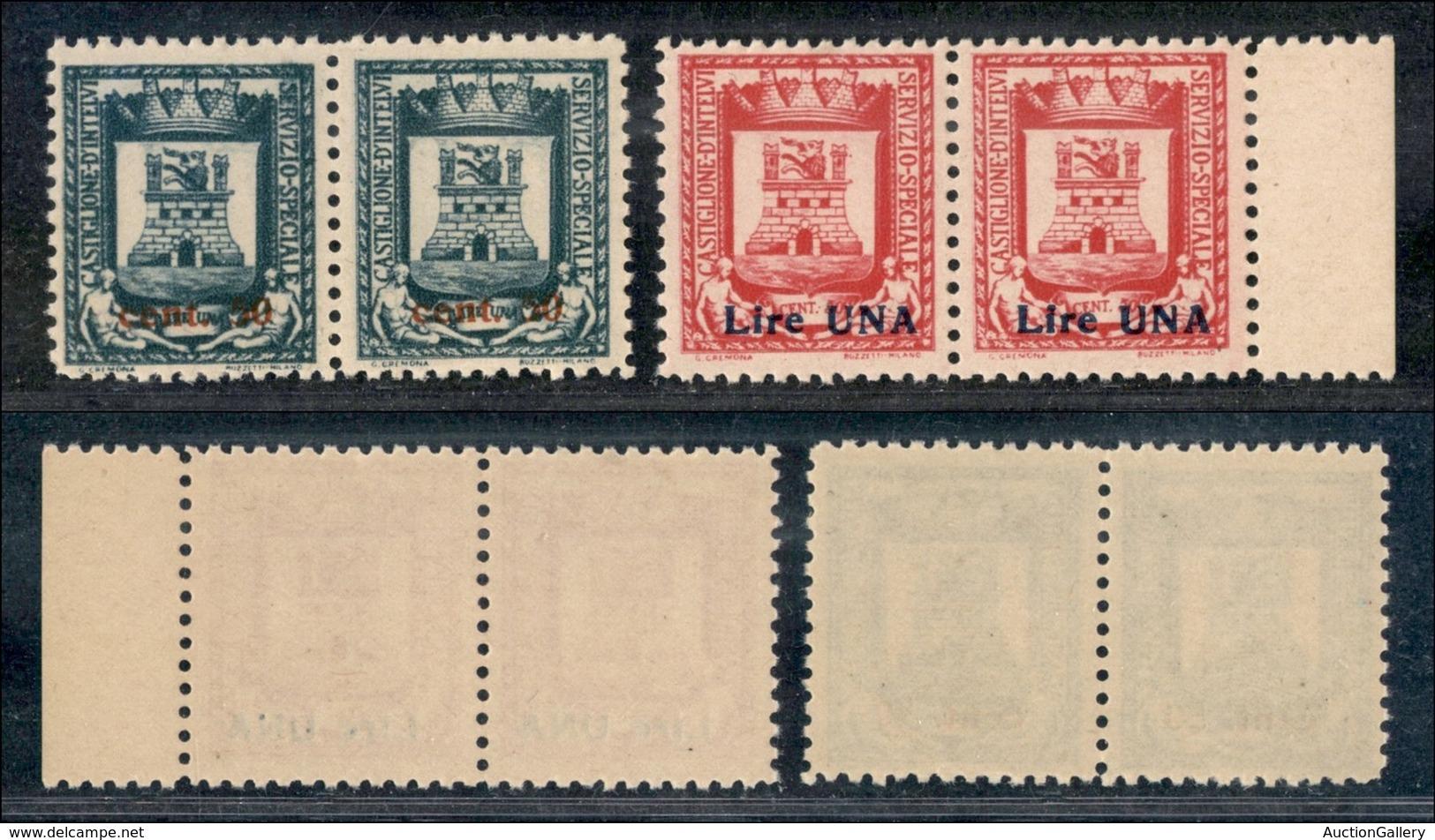 EMISSIONI LOCALI - Castglione D'Intelvi - 1945 - Stemma Soprastampati (18/19) - Serie Completa In Coppie Orizzontali - G - Stamps