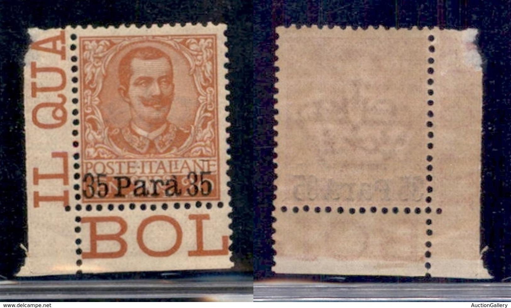 UFFICI POSTALI ALL'ESTERO - Levante - Albania - 1902 - 35 Para Su 20 Cent (5) Angolo Di Foglio - Gomma Integra - Stamps
